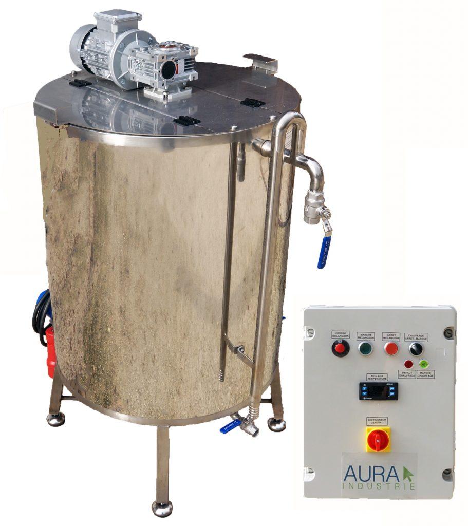 CUVE INOX -0 à 800 L - gaz + bain marie EAU 95°C + mélangeur